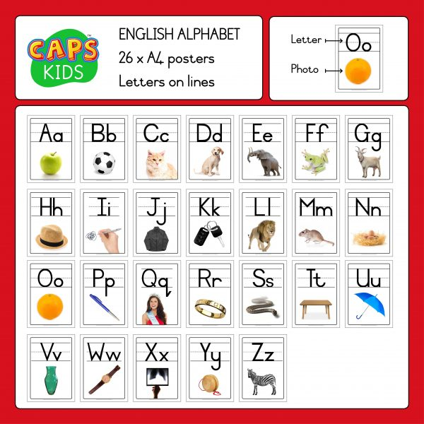 CAPSkids A4 Posters - English Alphabet with lines 2