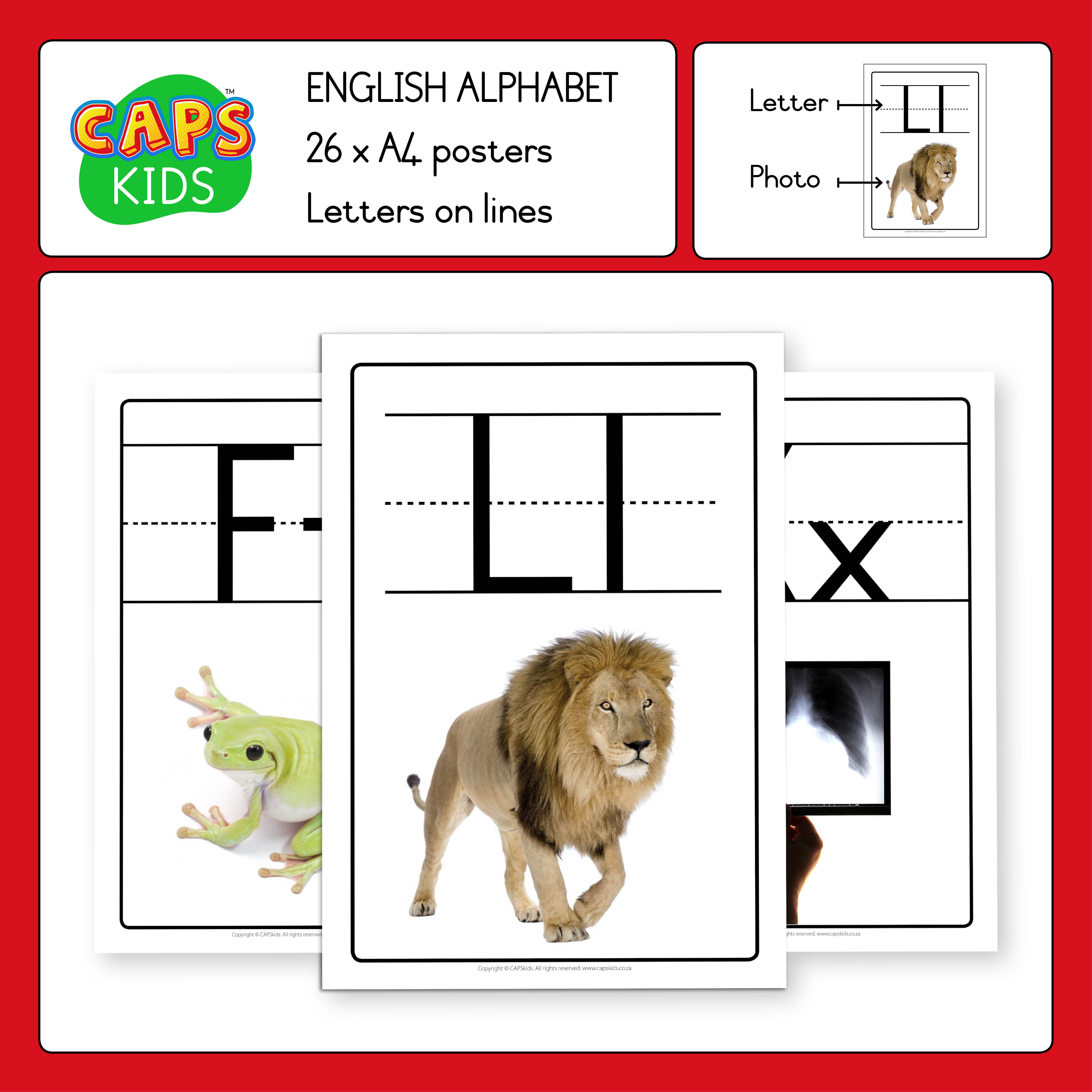 A4 English Alphabet Posters (A–Z)