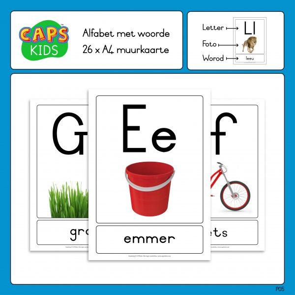 CAPSkids A4 Muurkaarte - Afrikaanse alfabet met woorde
