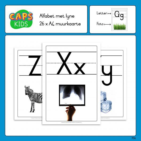 CAPSkids A4 Muurkaarte - Afrikaanse alfabet met lyne