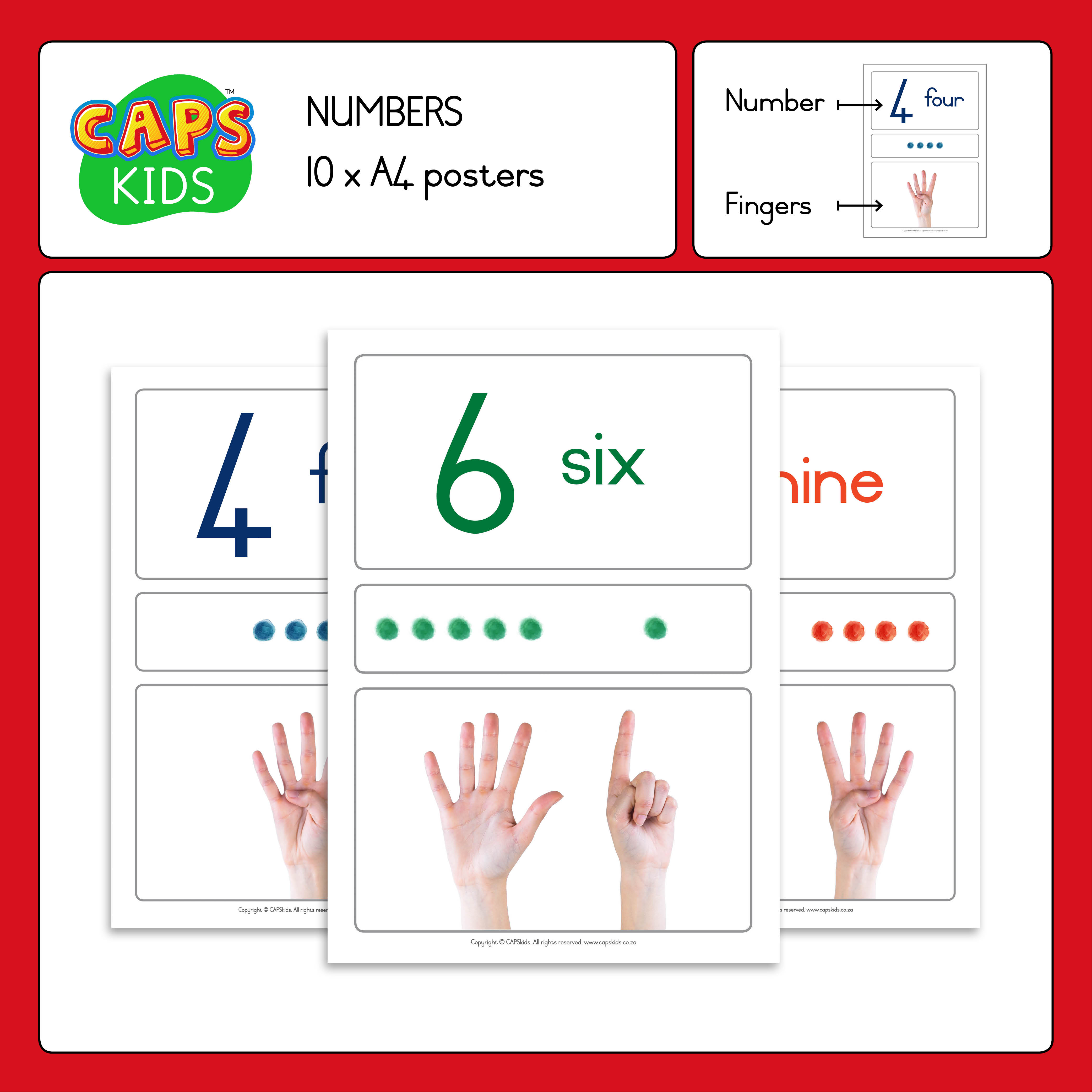 CAPSkids A4 Posters with English numbers